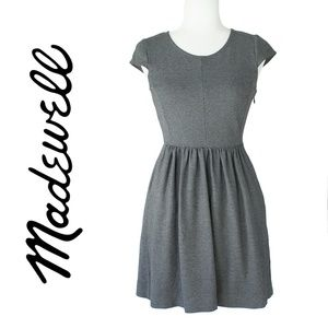 Madewell Gray Fit and Flare Stretch Dress